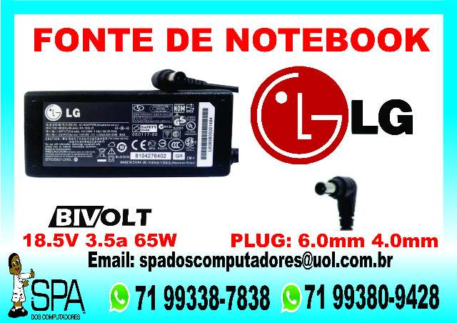 Fonte Carregador Notebook Lg 65w 19v 3.5a em Camaçari Ba