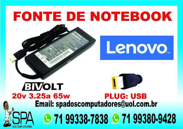 Fonte Carregador Notebook Lenovo 20v 3.25a 65w em Camaçari Ba