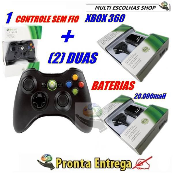Controle sem fio para Xbox 360 Mais 2 Baterias 20000mah Mais Cabo Carregador. - São Paulo - Video Ga