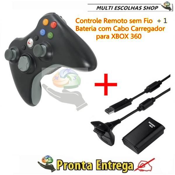 Controle Remoto sem fio para Xbox 360, Mais 1 Bateria 20000mah Mais cabo Carregador. - São Paulo - V