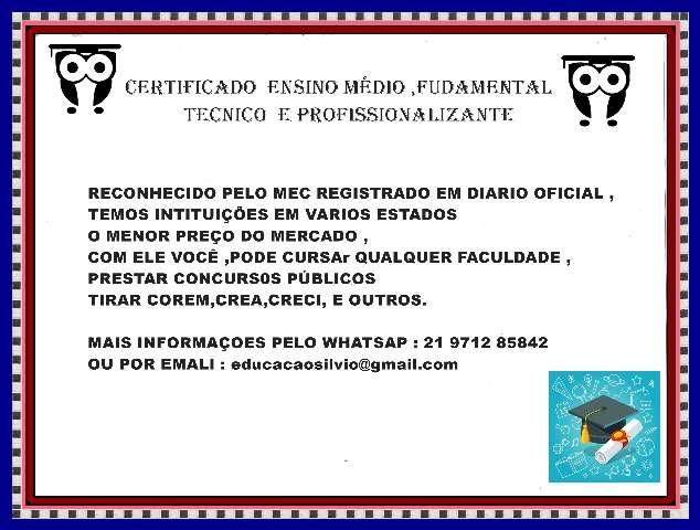 CERTIFICADO DE ENSINO MEDIO TECNICO E SUPERIOR  EM 48 HORAS