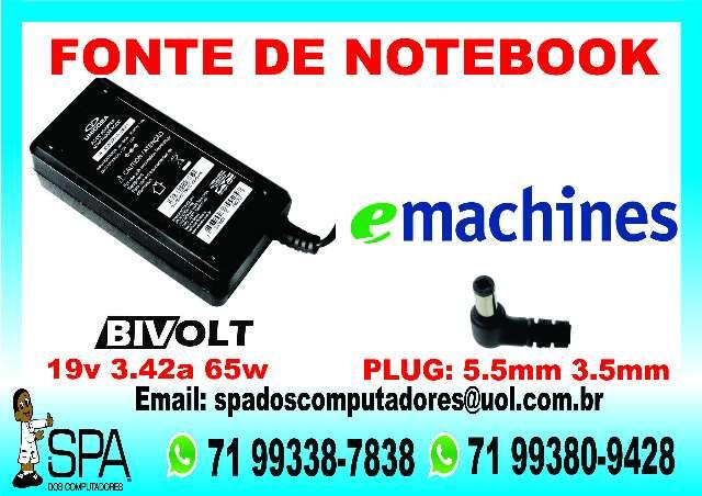 Fonte Carregador Notebook Emachine em Salvador Ba