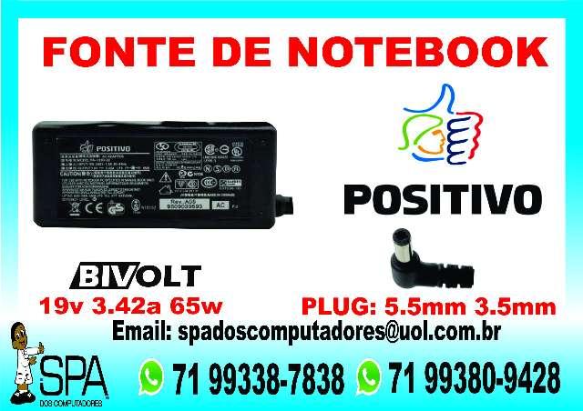 Fonte Carregador Notebook Positivo  19V 3.42A  Original Em Salvador Ba